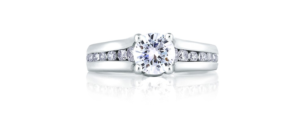 Side stone engagement rings at Rogers Jewelry Co.